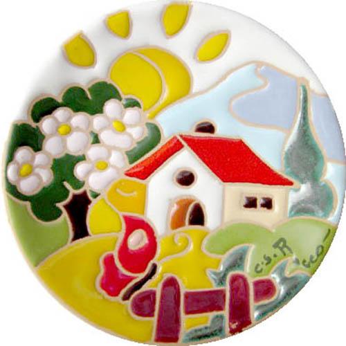 飾り皿:トスカーナの風景(春)・ラウンドタイプ 10cmφ