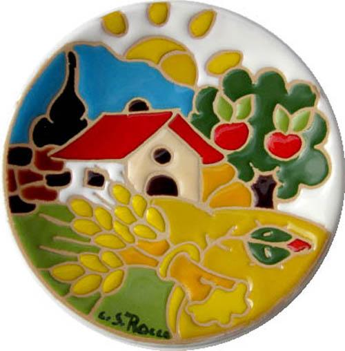 飾り皿:トスカーナの風景(夏)・ラウンドタイプ 10cmΦ