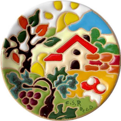飾り皿:トスカーナの風景(秋)・ラウンドタイプ 10cmΦ