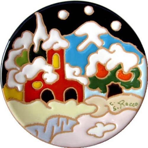 飾り皿:トスカーナの風景(冬)・ラウンドタイプ 10cmΦ