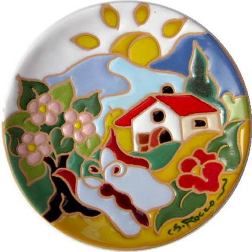 飾り皿:トスカーナの風景(春)・ラウンドタイプ 12cmΦ