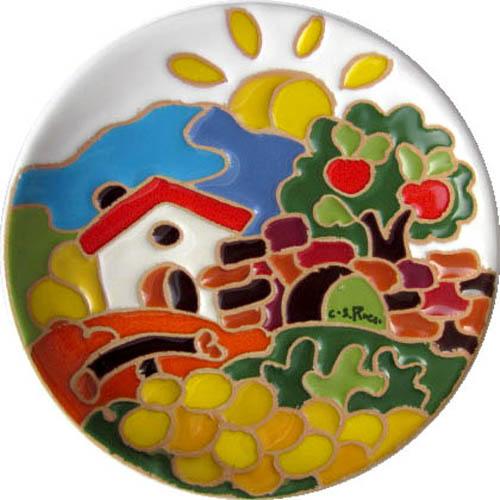飾り皿:トスカーナの風景(秋)・ラウンドタイプ 12cmΦ