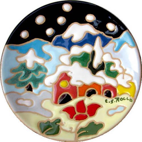 飾り皿:トスカーナの風景(冬)・ラウンドタイプ 12cmΦ