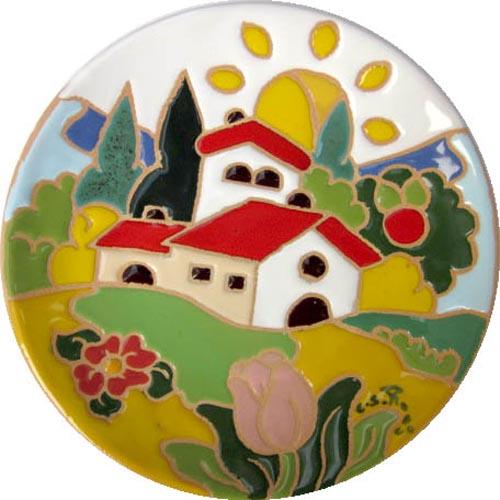 飾り皿:トスカーナの風景(春)・ラウンドタイプ 15cmΦ