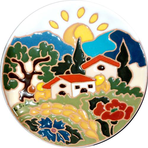 飾り皿:トスカーナの風景(夏)・ラウンドタイプ 15cmΦ