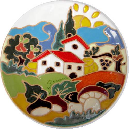 飾り皿:トスカーナの風景(秋)・ラウンドタイプ 15cmΦ