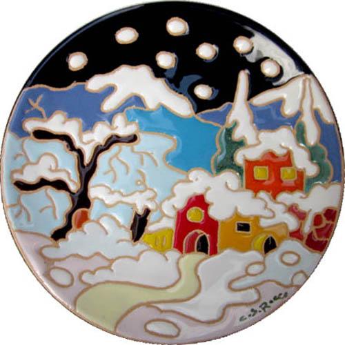 飾り皿:トスカーナの風景(冬)・ラウンドタイプ 15cmΦ