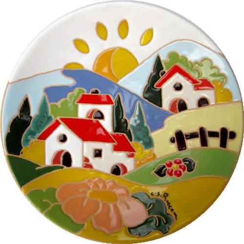 飾り皿:トスカーナの風景(春)・ラウンドタイプ 20cmΦ
