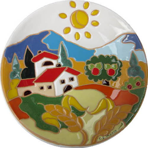 飾り皿:トスカーナの風景(夏)