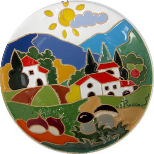 飾り皿:トスカーナの風景(秋)