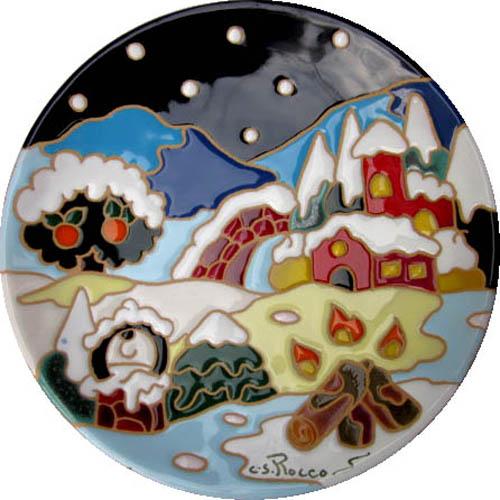 飾り皿:トスカーナの風景(冬)