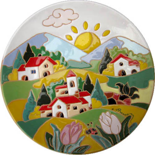 飾り皿:トスカーナの風景(春)・ラウンドタイプ 30cmΦ