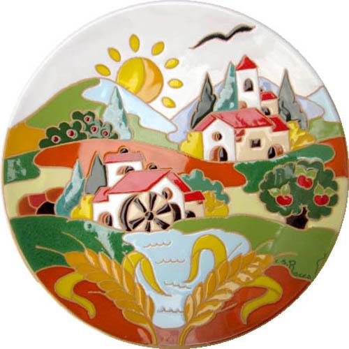 飾り皿:トスカーナの風景(夏)・ラウンドタイプ 30cmΦ