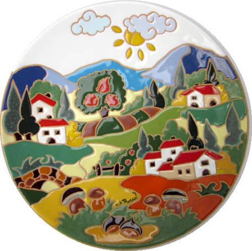 飾り皿:トスカーナの風景(秋)・ラウンドタイプ 30cmΦ