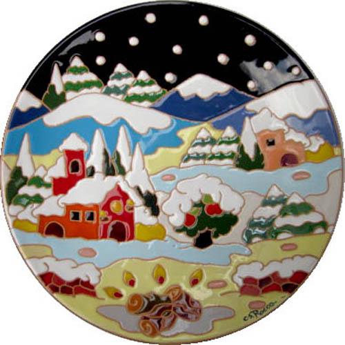 飾り皿:トスカーナの風景(冬)・ラウンドタイプ 30cmΦ