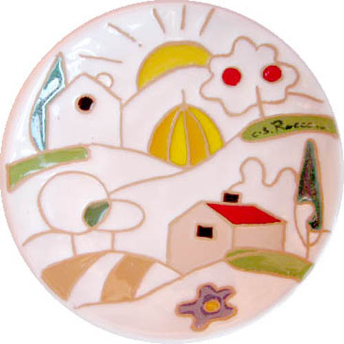飾り皿:トスカーナの風景(シンプル)・ラウンドタイプ 12cmΦ