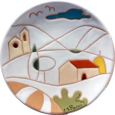 飾り皿:トスカーナの風景(シンプル)・ラウンドタイプ 15cmΦ