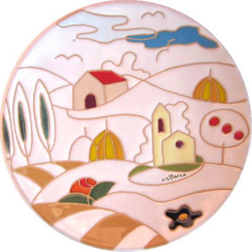 飾り皿:トスカーナの風景(シンプル)・ラウンドタイプ 20cmΦ