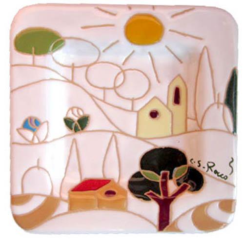 飾り皿:トスカーナの風景(シンプル)・正方形 17x17cm
