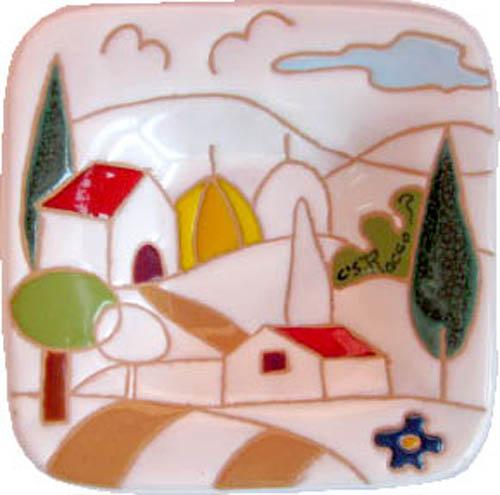 飾り皿:トスカーナの風景(シンプル)・正方形タイプ 12x12cm