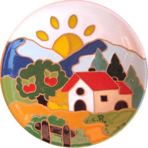 飾り皿:トスカーナの風景(昼)・ラウンドタイプ 15cmΦ