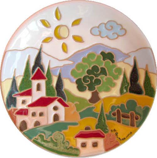 飾り皿:トスカーナの風景(昼)