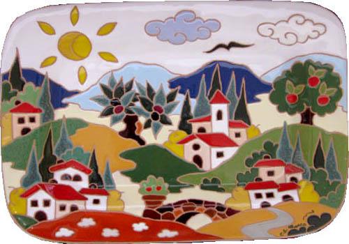 飾り皿:トスカーナの風景(昼)・長方形 28x27cm