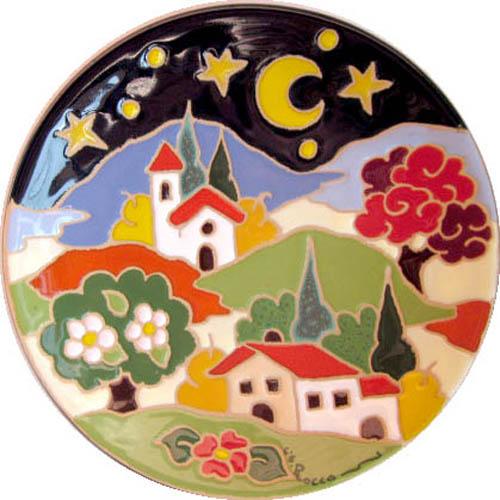 飾り皿:トスカーナの風景(夜)・ラウンドタイプ 20cmΦ