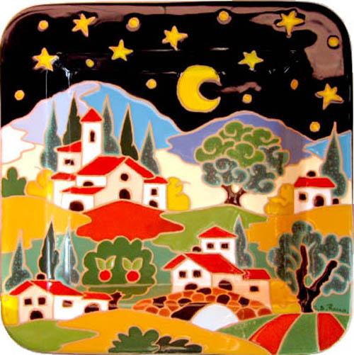 飾り皿:トスカーナの風景(夜)・正方形 28x28cm