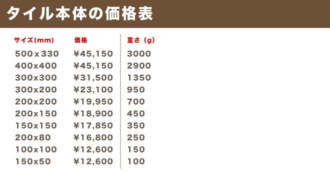 タイル本体の価格表